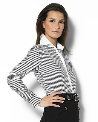 Lauren Ralph Lauren Women's Eric Brookhill Stripe Cotton Broadcloth Shirt with White Collar and Cuffs