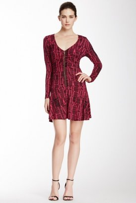Tracy Reese Printed V-Neck Zip Dress