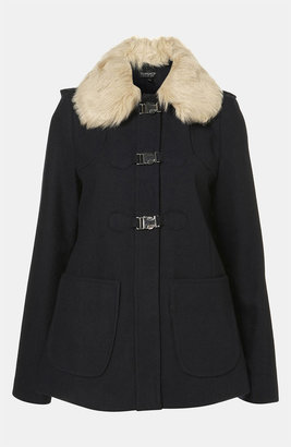 Topshop 'Emmie' Faux Fur Collar Duffle Coat