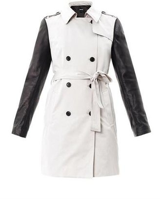 DKNY Leather sleeve trench coat