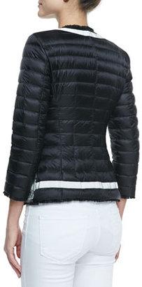 Moncler Tweed-Front Puffer Jacket, Black