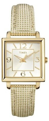 Timex Women's Square Case with Gold Numbers on Silver Dial with Gold Tone Leather Strap - Gold