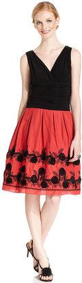 SL Fashions Sleeveless Embroidered Dress