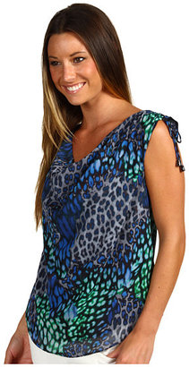 Vince Camuto Capri Patched Leopard Rouched Tie Shoulder Blouse