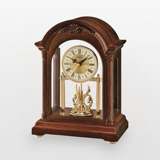Swarovski Seiko wood mantel clock - made with elements - qxn224blh