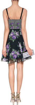 Anna Sui Cabbage Rose/Rosebud Silk Dress in Black Multi