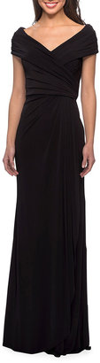 La Femme Short-Sleeve Ruched Jersey Gown Dress