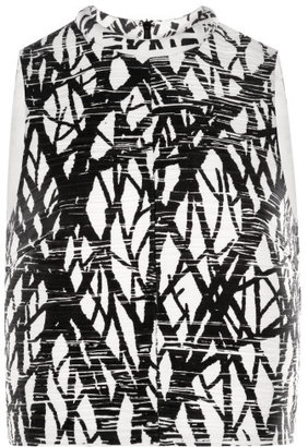 Proenza Schouler Tree Printed Pleated Crepe Sleeveless Cropped Top