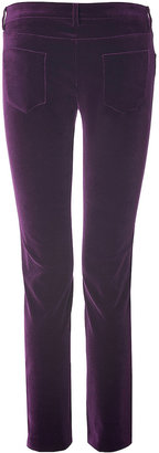 Victoria Beckham Denim Cotton Velvet Ankle Slim Pants in Royal Purple