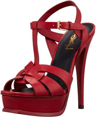 Saint Laurent Tribute High-Heel Leather Sandal, Red