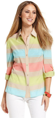 Style&Co. Top, Long-Sleeve Striped Button-Down Shirt
