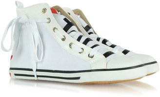 Love Moschino Moschino High Top Fabric and Patent Leather Sneaker