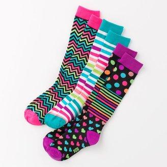 Pink Cookie 3-pk. striped knee-high socks - girls
