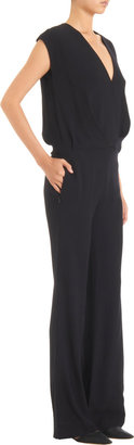 L'Agence Draped Crossover Front Wide Leg Jumpsuit