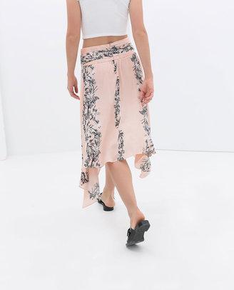 Zara Printed Skirt With Asymmetric Hem