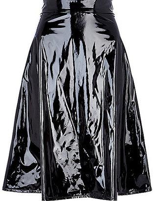River Island Womens Black high shine midi skirt