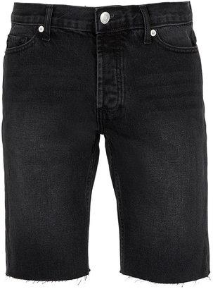 Topman Black Raw Edge Denim Shorts
