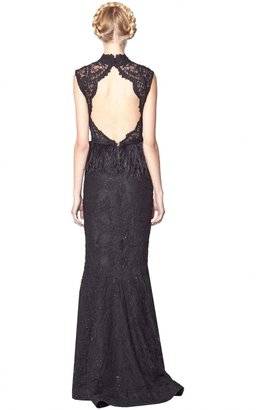 Alice + Olivia Jessica Full Length Gown With Feather Peplum