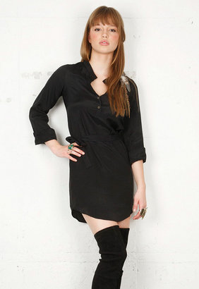 Twelfth St. By Cynthia Vincent Shirt Dress with Tie in Black