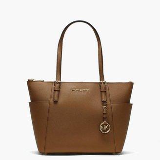 Michael Kors Jet Set Pocket Acorn Leather Top Zip Tote Bag