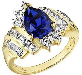 JCPenney 14K Gold Over Silver Lab-Created Blue & White Sapphire Ring