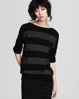 Bloomingdale's C by Stripe Crew Neck Pullover Top