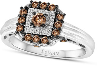 LeVian Le Vian Chocolatier® Chocolate Deco EstateTM Chocolate Diamond (1/2 ct. t.w.) and White Diamond Accent Square Ring in 14k White Gold