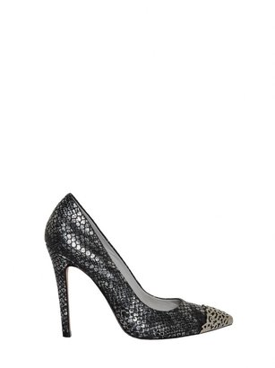 Alice + Olivia Devon Metallic Antique Snake Print Heel