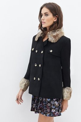 Forever 21 FOREVER 21+ Contemporary Faux Fur-Trimmed A-Line Coat