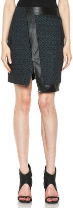Helmut Lang Peak Jacquard Leather Skirt in Everest