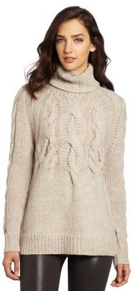 Halston Women's Long Sleeve Cable Rib Turtleneck Sweater