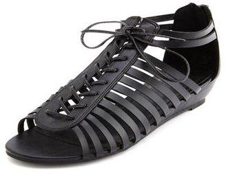 Charlotte Russe Zip-Back Ghillie Mini Wedge Sandal