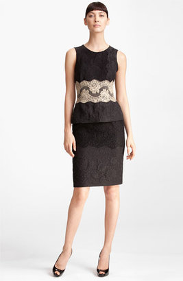 Dolce & Gabbana Contrast Lace & Jacquard Peplum Dress