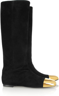 Yves Saint Laurent Rita flat suede and metal boots