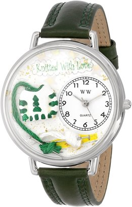 Whimsical Watches Unisex U0450016 Christmas Knitting Hunter Green Leather Watch