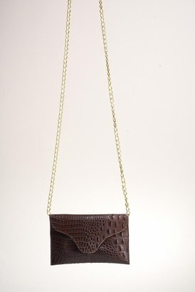 JJ Winters Chain Leather Croco Miley Clutch in Brown