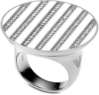 Emporio Armani Ring, Stainless Steel and Crystal Stripe EGS1340