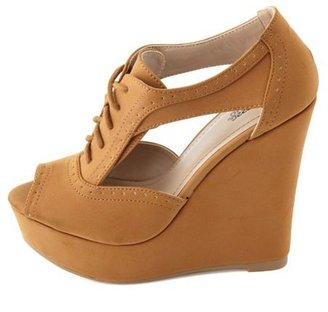Charlotte Russe Cutout Nubuck Oxford Wedge