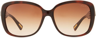 Lanvin Shiny Square Sunglasses with Crystal Temples, Brown
