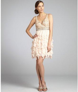 Sue Wong light peach chiffon ruffle and embellished mesh dress