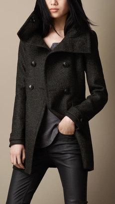 Burberry Felted Tweed Funnel Collar Coat