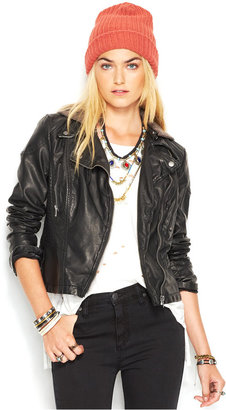 Free People Faux-Leather Hooded Moto Jacket $168 thestylecure.com