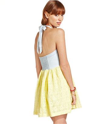 Keds Juniors Dress, Sleeveless Lace Chambray Halter