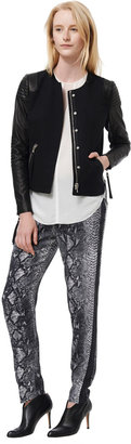 Rebecca Taylor Twill Moto Jacket With Leather