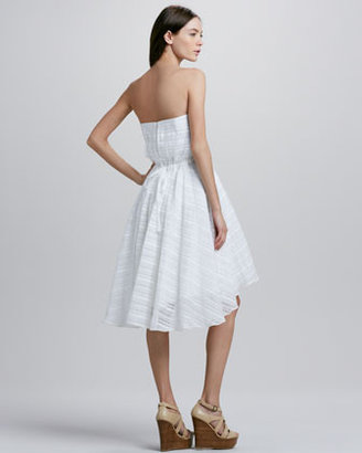 Tracy Reese Strapless Striped High-Low Dress