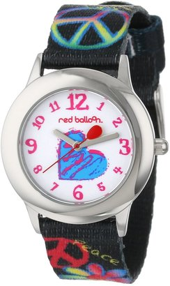EWatchFactory Red Balloon Kids' W000339 Peace Love and Happiness Tween Stainless Steel Printed Strap Watch