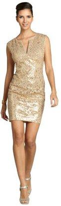 BCBGMAXAZRIA gold sequin cotton blend 'Kaya' sleeveless dress