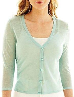 Liz Claiborne Cropped Button-Front Cardigan