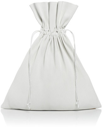 J.W.Anderson White Pleated Leather Drawstring Bag