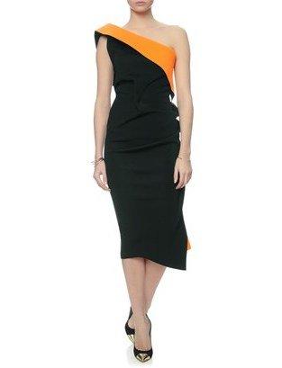 Maticevski Black Neon Optical Cocktail Dress